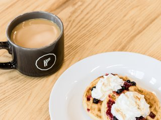 Waffles and Coffee at Roundhouse Waffle Wednesday Member Event