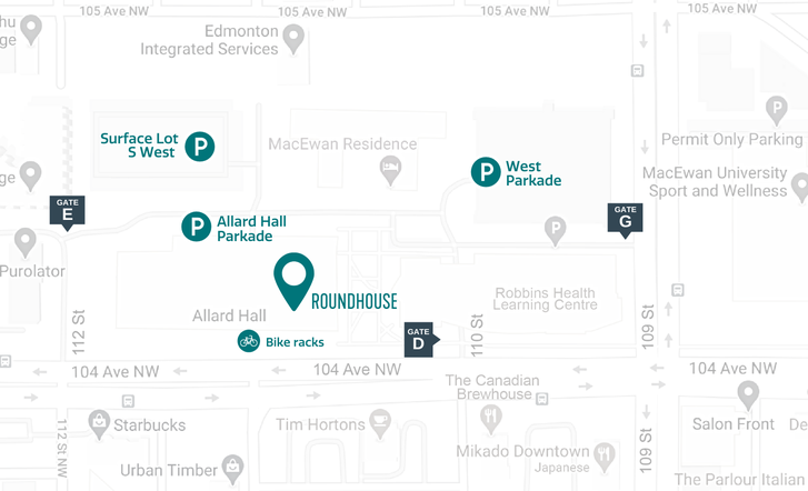 Roundhouse in Downtown Edmonton Street Map